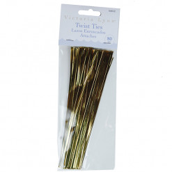 Gold Twist Ties 6 Inches 80 Count