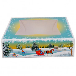 Pastry & Cookie Box Winter Scene with Window 8 x 5-3/4 x 2-1/2 Inches, 5 Count by GSA
