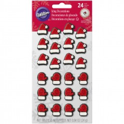 Santa Hats & Mittens Icing Decorations, 24 Count by Wilton