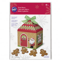Christmas Sweet Holiday Sharing Gingerbread House Treat Boxes, 4 Count by Wilton